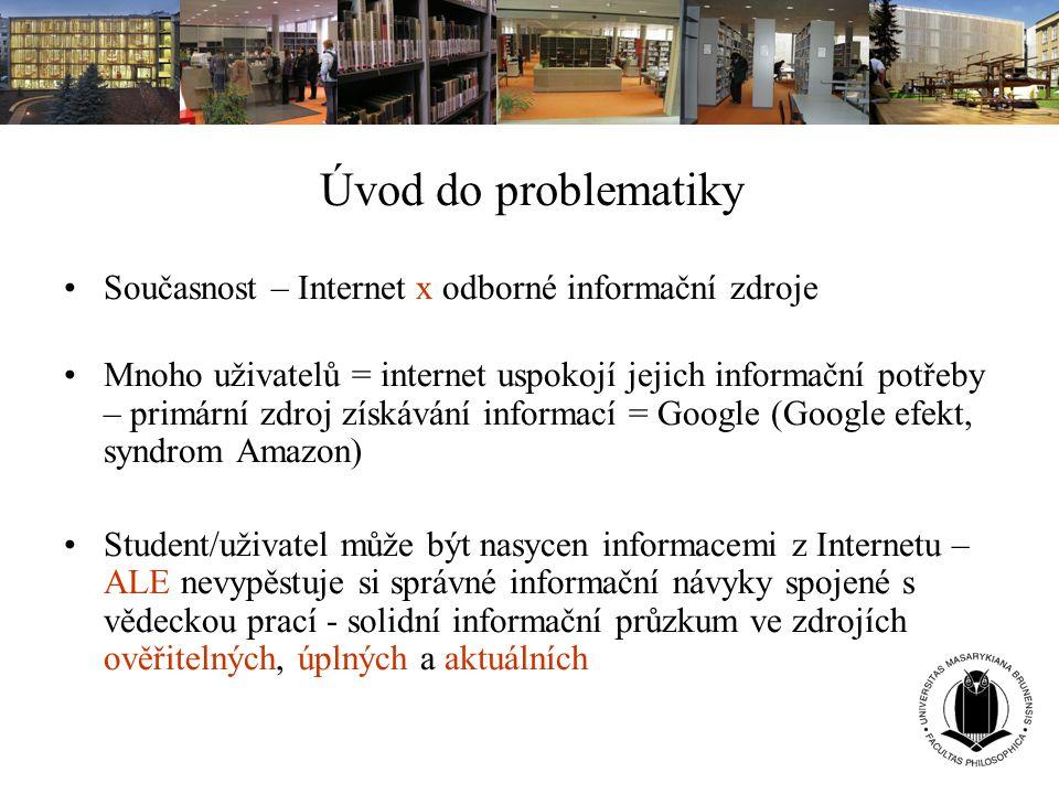 Úvod do problematiky Současnost – Internet x odborné informační zdroje Mnoho uživatelů = internet uspokojí jejich informační potřeby – primární zdroj