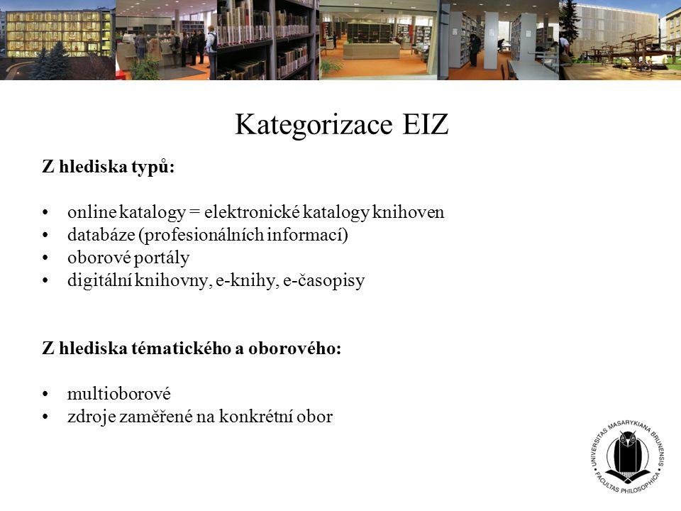 Kategorizace EIZ Z hlediska typů: online katalogy = elektronické katalogy knihoven databáze (profesionálních informací) oborové portály digitální knih
