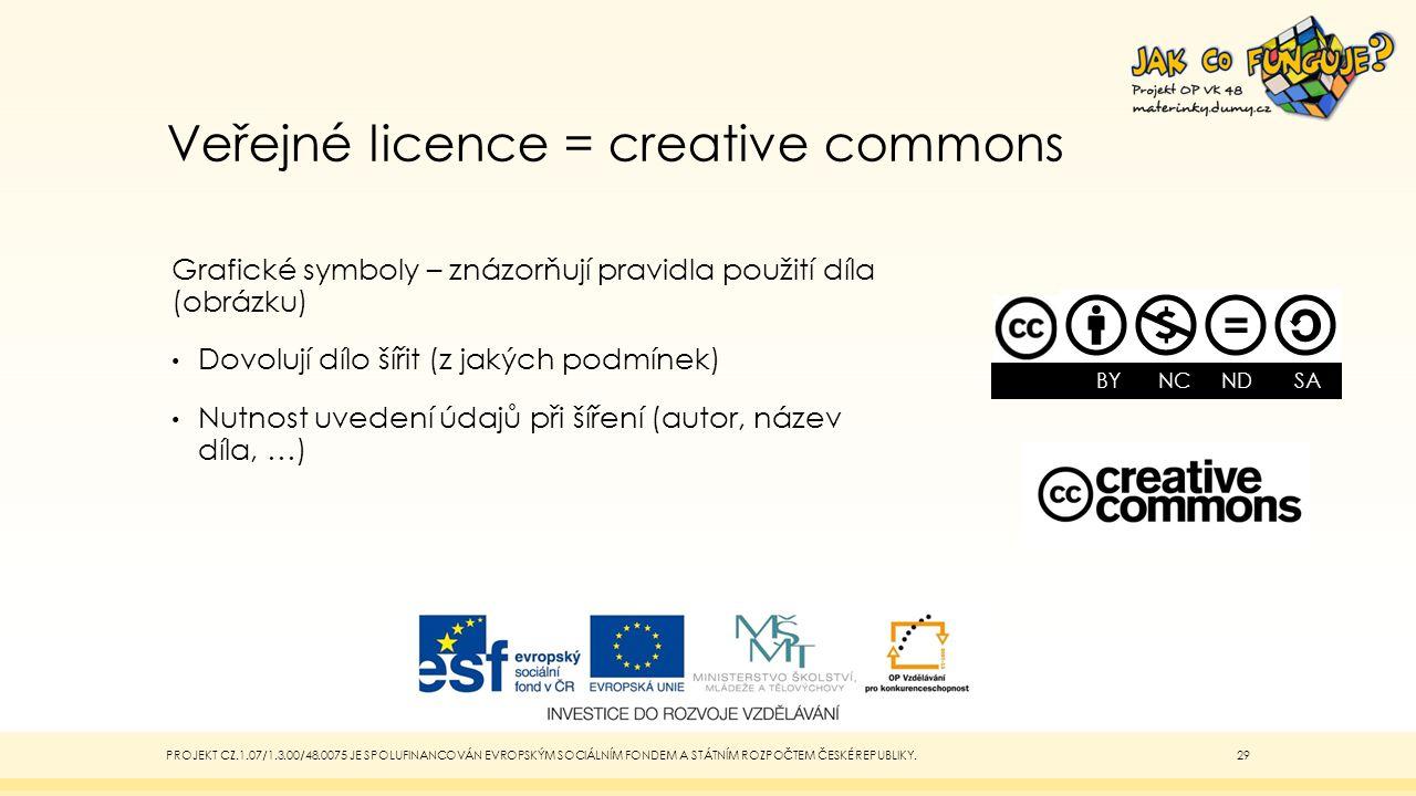 Veřejné licence = creative commons Grafické symboly – znázorňují pravidla použití díla (obrázku) Dovolují dílo šířit (z jakých podmínek) Nutnost uvede