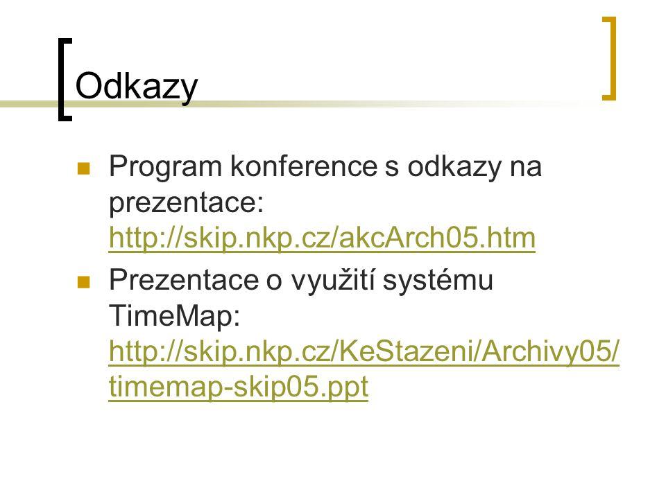 Odkazy Program konference s odkazy na prezentace: http://skip.nkp.cz/akcArch05.htm http://skip.nkp.cz/akcArch05.htm Prezentace o využití systému TimeMap: http://skip.nkp.cz/KeStazeni/Archivy05/ timemap-skip05.ppt http://skip.nkp.cz/KeStazeni/Archivy05/ timemap-skip05.ppt