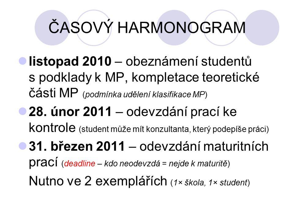ČASOVÝ HARMONOGRAM listopad 2010 – obeznámení studentů s podklady k MP, kompletace teoretické části MP (podmínka udělení klasifikace MP) 28.