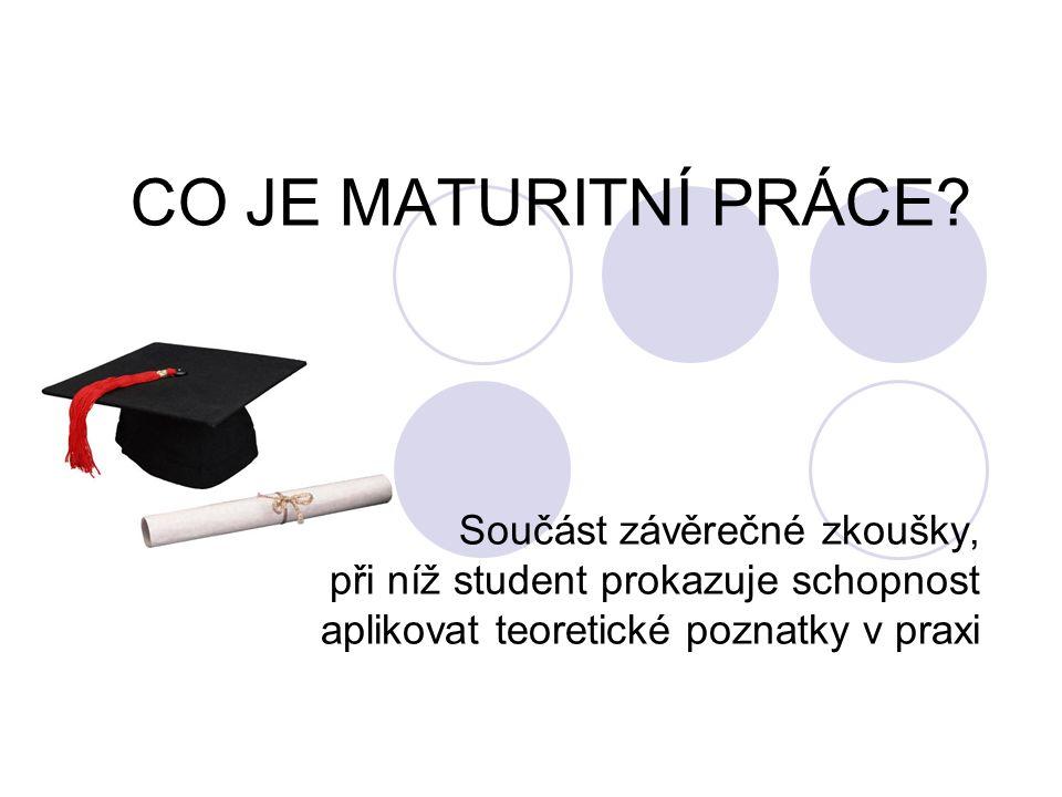 ZADÁNÍ MATURITNÍ PRÁCE zadává přednášející odborných předmětů student volí téma sám nebo je mu navrženo vedoucí maturitní práce (interní, externí) oponent maturitní práce