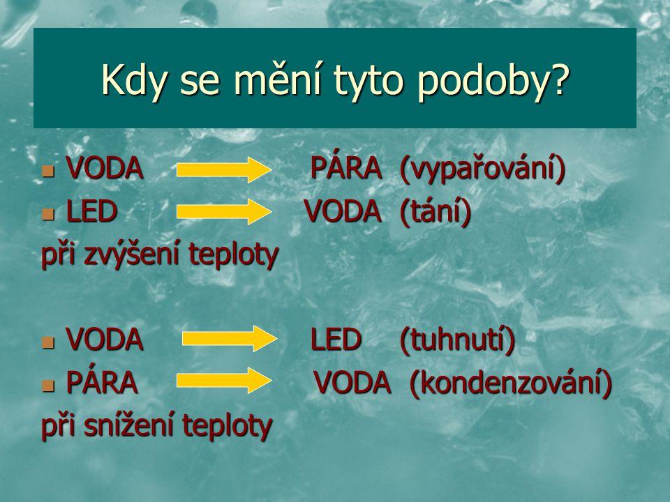 Kdy se mění tyto podoby? VODA PÁRA (vypařování) VODA PÁRA (vypařování) LED VODA (tání) LED VODA (tání) při zvýšení teploty VODA LED (tuhnutí) VODA LED