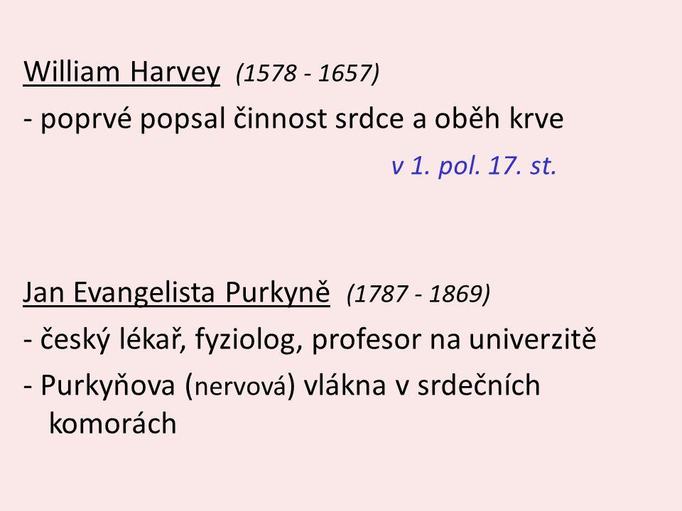 William Harvey (1578 - 1657) - poprvé popsal činnost srdce a oběh krve v 1. pol. 17. st. Jan Evangelista Purkyně (1787 - 1869) - český lékař, fyziolog