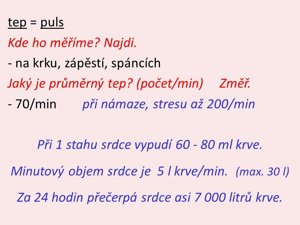 tep = puls Kde ho měříme? Najdi. - na krku, zápěstí, spáncích Jaký je průměrný tep? (počet/min) Změř. - 70/min při námaze, stresu až 200/min Při 1 sta