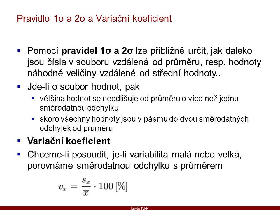 Lukáš Teklý Pravidlo 1σ a 2σ a Variační koeficient  Pomocí pravidel 1σ a 2σ lze přibližně určit, jak daleko jsou čísla v souboru vzdálená od průměru,