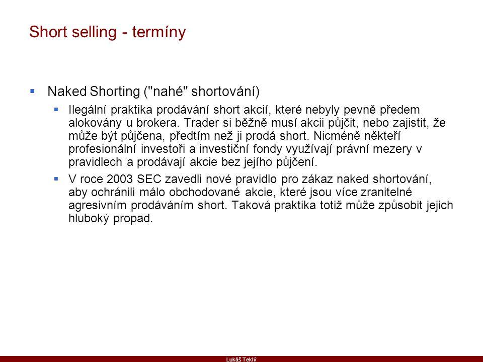 Lukáš Teklý Short selling - termíny  Naked Shorting (