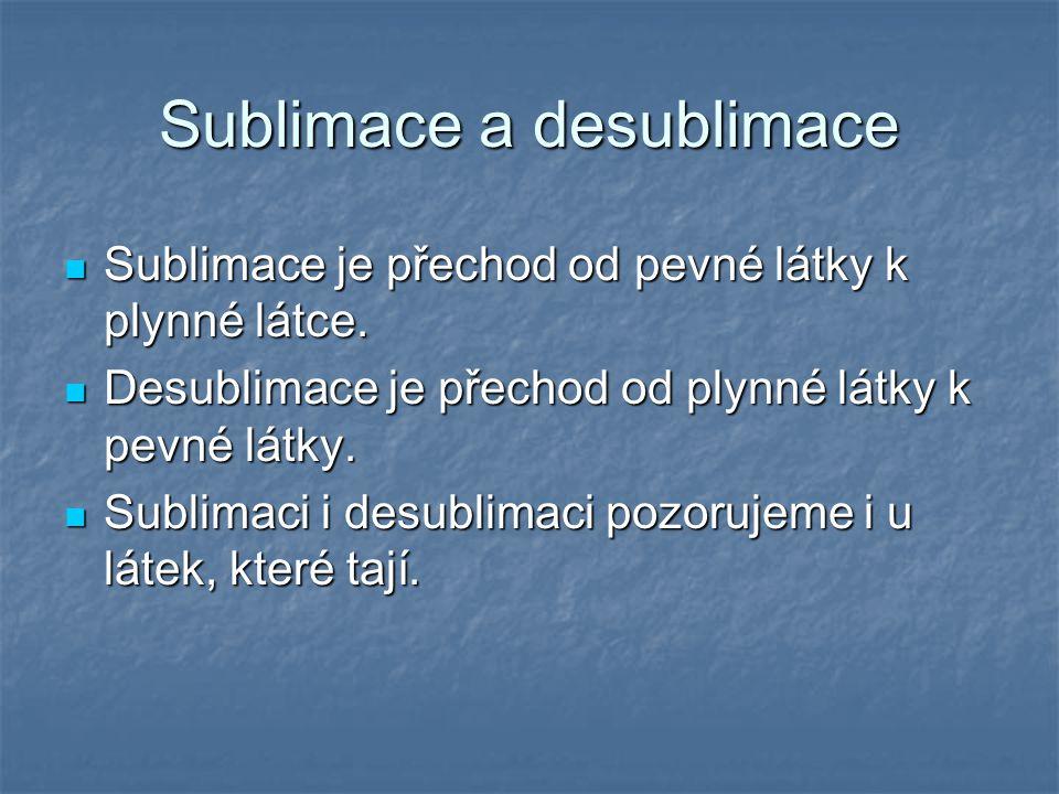 Sublimace a desublimace Sublimace je přechod od pevné látky k plynné látce. Sublimace je přechod od pevné látky k plynné látce. Desublimace je přechod
