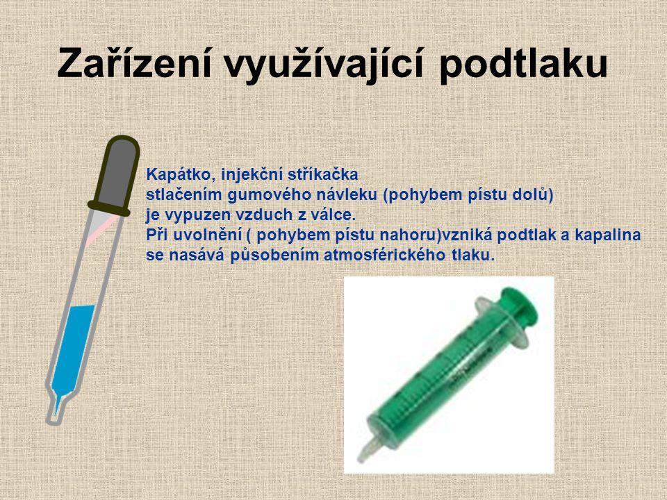Zařízení využívající podtlaku Kapátko, injekční stříkačka stlačením gumového návleku (pohybem pístu dolů) je vypuzen vzduch z válce.