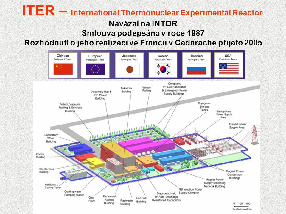 ITER – International Thermonuclear Experimental Reactor Navázal na INTOR Smlouva podepsána v roce 1987 Rozhodnutí o jeho realizaci ve Francii v Cadara
