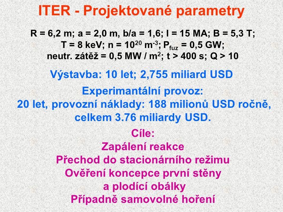 ITER - Projektované parametry R = 6,2 m; a = 2,0 m, b/a = 1,6; I = 15 MA; B = 5,3 T; T = 8 keV; n = 10 20 m -3 ; P fuz = 0,5 GW; neutr. zátěž = 0,5 MW