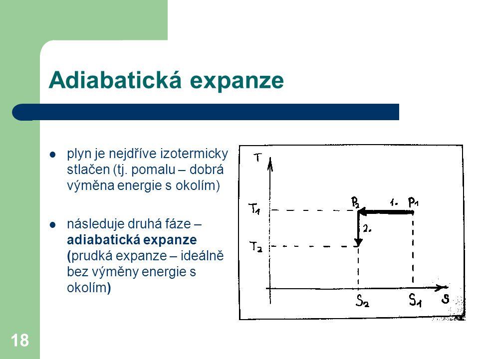 18 Adiabatická expanze plyn je nejdříve izotermicky stlačen (tj.