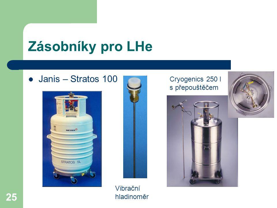 25 Zásobníky pro LHe Janis – Stratos 100 Vibrační hladinoměr Cryogenics 250 l s přepouštěčem
