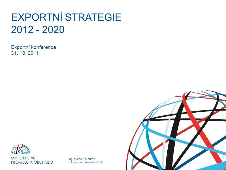 Ing. Martin Kocourek ministr průmyslu a obchodu EXPORTNÍ STRATEGIE EXPORTNÍ STRATEGIE 2012 - 2020 Exportní konference 31. 10. 2011
