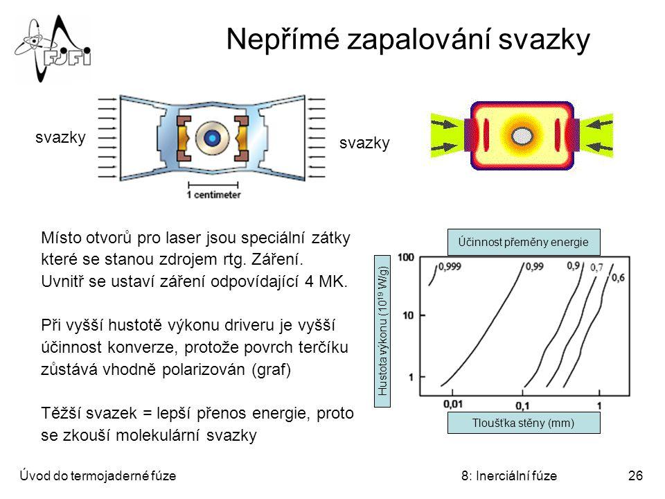 Úvod do termojaderné fúze8: Inerciální fúze26 Nepřímé zapalování svazky Místo otvorů pro laser jsou speciální zátky které se stanou zdrojem rtg. Zářen