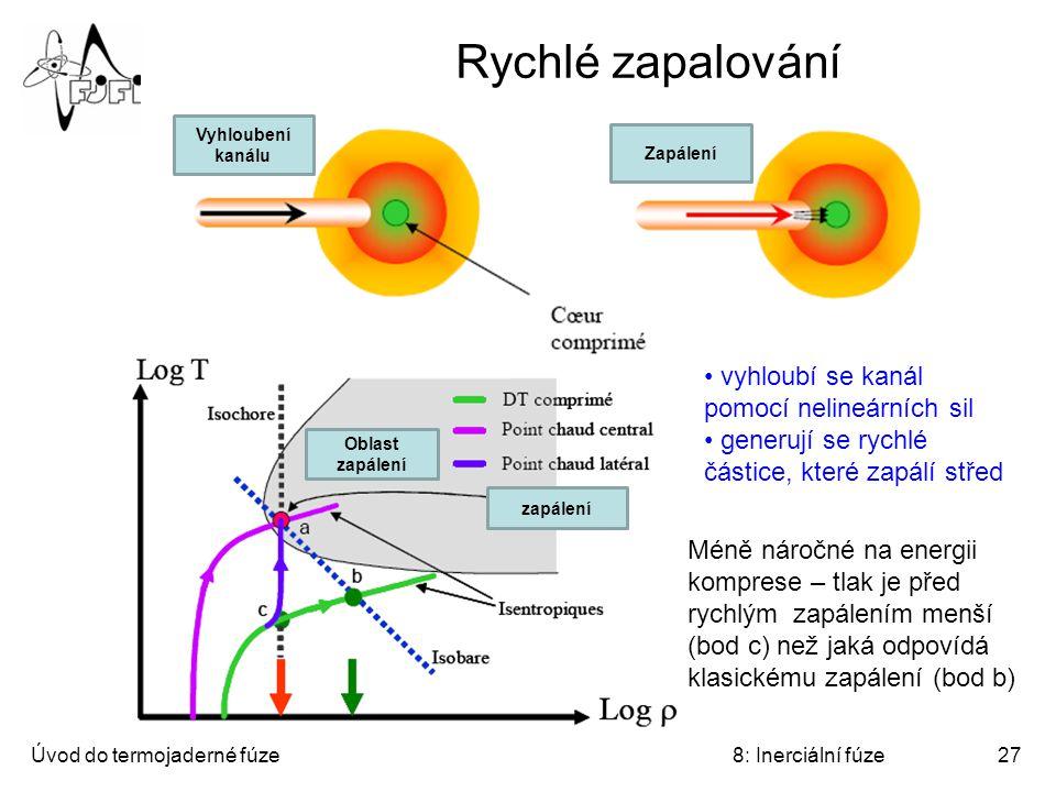 Úvod do termojaderné fúze8: Inerciální fúze27 Rychlé zapalování Méně náročné na energii komprese – tlak je před rychlým zapálením menší (bod c) než jaká odpovídá klasickému zapálení (bod b) vyhloubí se kanál pomocí nelineárních sil generují se rychlé částice, které zapálí střed Oblast zapálení zapálení Vyhloubení kanálu Zapálení