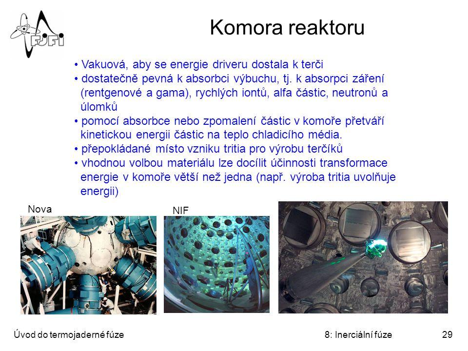 Úvod do termojaderné fúze8: Inerciální fúze29 Komora reaktoru Vakuová, aby se energie driveru dostala k terči dostatečně pevná k absorbci výbuchu, tj.