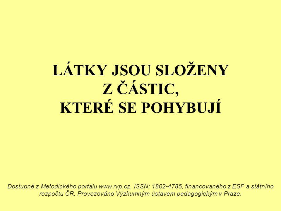 LÁTKY JSOU SLOŽENY Z ČÁSTIC, KTERÉ SE POHYBUJÍ Dostupné z Metodického portálu www.rvp.cz, ISSN: 1802-4785, financovaného z ESF a státního rozpočtu ČR.