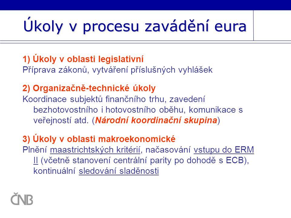 Úkoly v procesu zavádění eura 1) Úkoly v oblasti legislativní Příprava zákonů, vytváření příslušných vyhlášek 2) Organizačně-technické úkoly Koordinace subjektů finančního trhu, zavedení bezhotovostního i hotovostního oběhu, komunikace s veřejností atd.