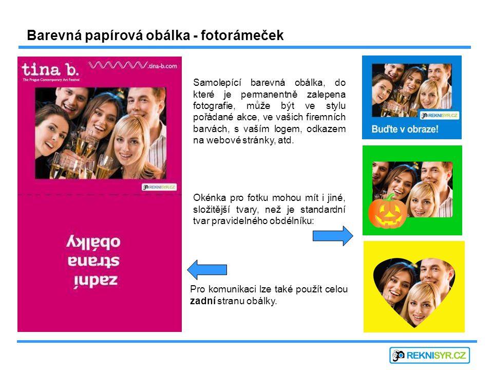 Barevná papírová obálka - fotorámeček Samolepící barevná obálka, do které je permanentně zalepena fotografie, může být ve stylu pořádané akce, ve vašich firemních barvách, s vaším logem, odkazem na webové stránky, atd.