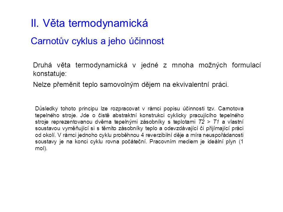 II. Věta termodynamická Carnotův cyklus a jeho účinnost Druhá věta termodynamická v jedné z mnoha možných formulací konstatuje: Nelze přeměnit teplo s