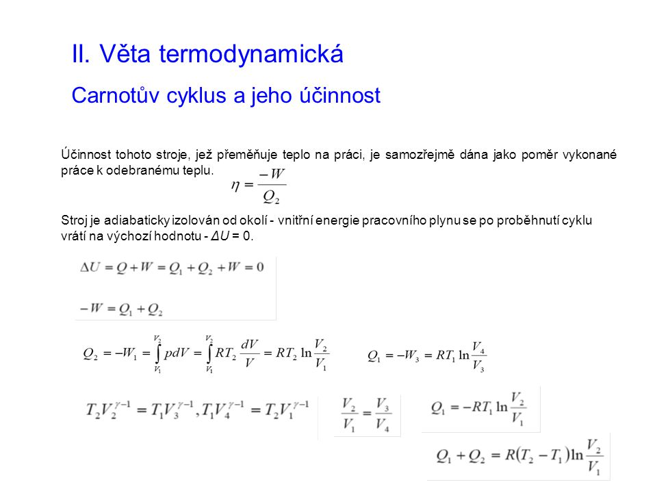 II. Věta termodynamická Carnotův cyklus a jeho účinnost Účinnost tohoto stroje, jež přeměňuje teplo na práci, je samozřejmě dána jako poměr vykonané p