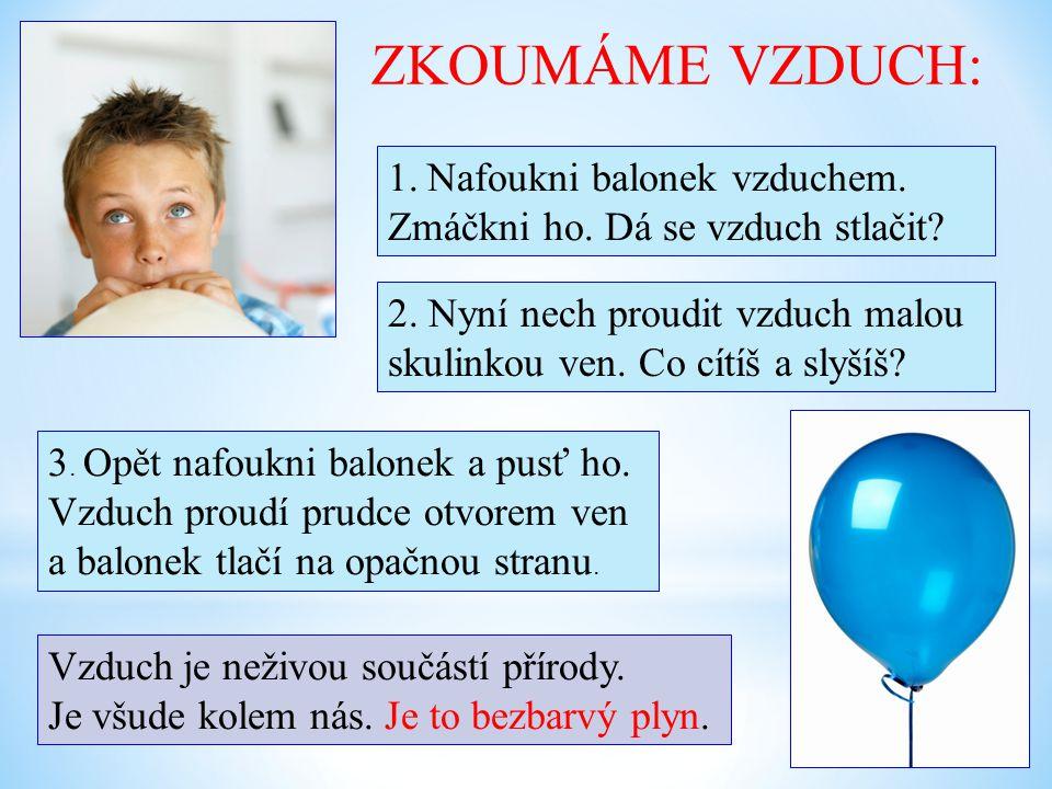 ZKOUMÁME VZDUCH: 1.Nafoukni balonek vzduchem.Zmáčkni ho.