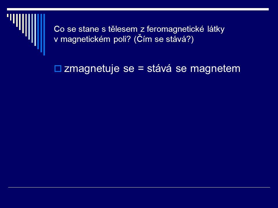 Co se stane s tělesem z feromagnetické látky v magnetickém poli? (Čím se stává?)  zmagnetuje se = stává se magnetem