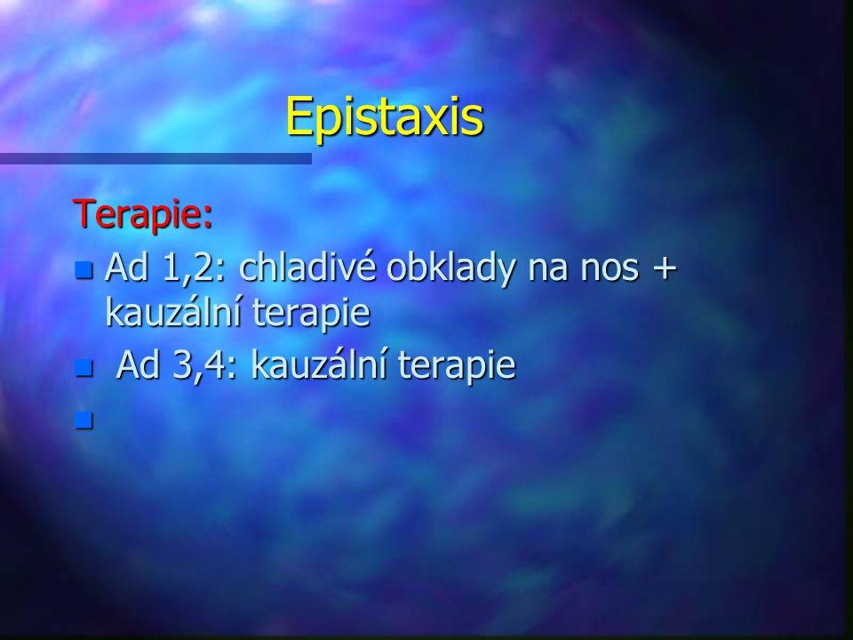 Epistaxis Terapie: n Ad 1,2: chladivé obklady na nos + kauzální terapie n Ad 3,4: kauzální terapie n