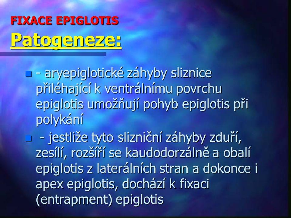 FIXACE EPIGLOTIS Patogeneze: n - aryepiglotické záhyby sliznice přiléhající k ventrálnímu povrchu epiglotis umožňují pohyb epiglotis při polykání n - jestliže tyto slizniční záhyby zduří, zesílí, rozšíří se kaudodorzálně a obalí epiglotis z laterálních stran a dokonce i apex epiglotis, dochází k fixaci (entrapment) epiglotis