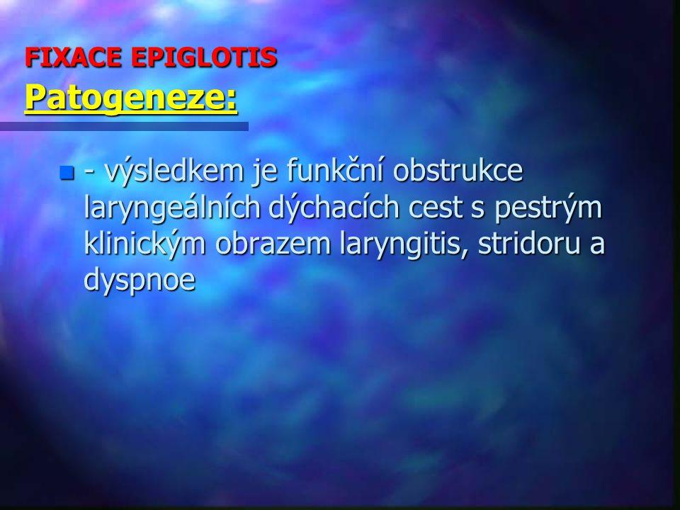 FIXACE EPIGLOTIS Patogeneze: n - výsledkem je funkční obstrukce laryngeálních dýchacích cest s pestrým klinickým obrazem laryngitis, stridoru a dyspnoe