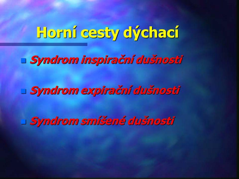 Horní cesty dýchací n Syndrom inspirační dušnosti n Syndrom expirační dušnosti n Syndrom smíšené dušnosti