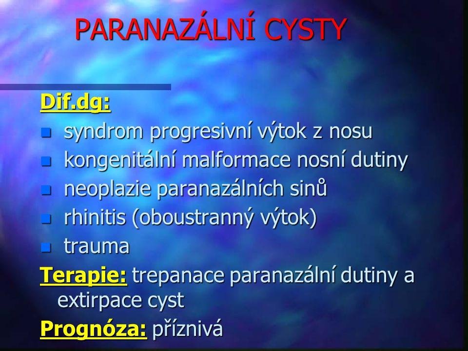 PARANAZÁLNÍ CYSTY Dif.dg: n syndrom progresivní výtok z nosu n kongenitální malformace nosní dutiny n neoplazie paranazálních sinů n rhinitis (oboustranný výtok) n trauma Terapie: trepanace paranazální dutiny a extirpace cyst Prognóza: příznivá