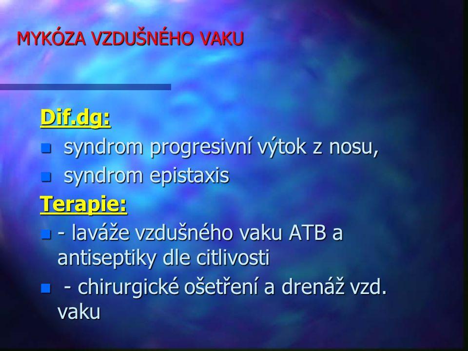 MYKÓZA VZDUŠNÉHO VAKU Dif.dg: n syndrom progresivní výtok z nosu, n syndrom epistaxis Terapie: n - laváže vzdušného vaku ATB a antiseptiky dle citlivosti n - chirurgické ošetření a drenáž vzd.