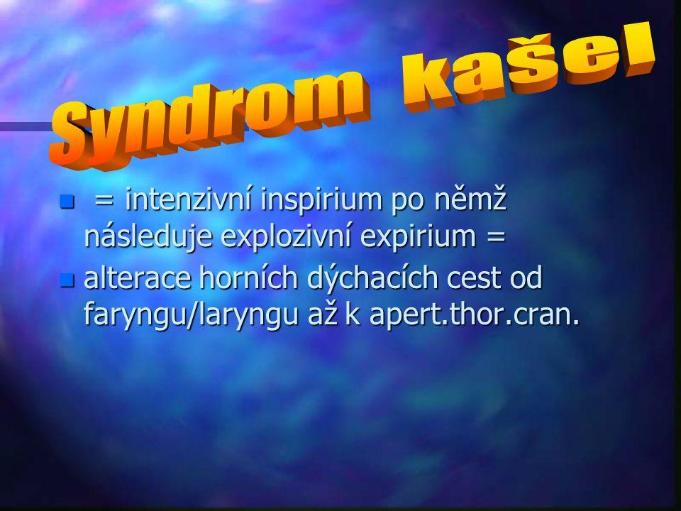 n = intenzivní inspirium po němž následuje explozivní expirium = n alterace horních dýchacích cest od faryngu/laryngu až k apert.thor.cran.