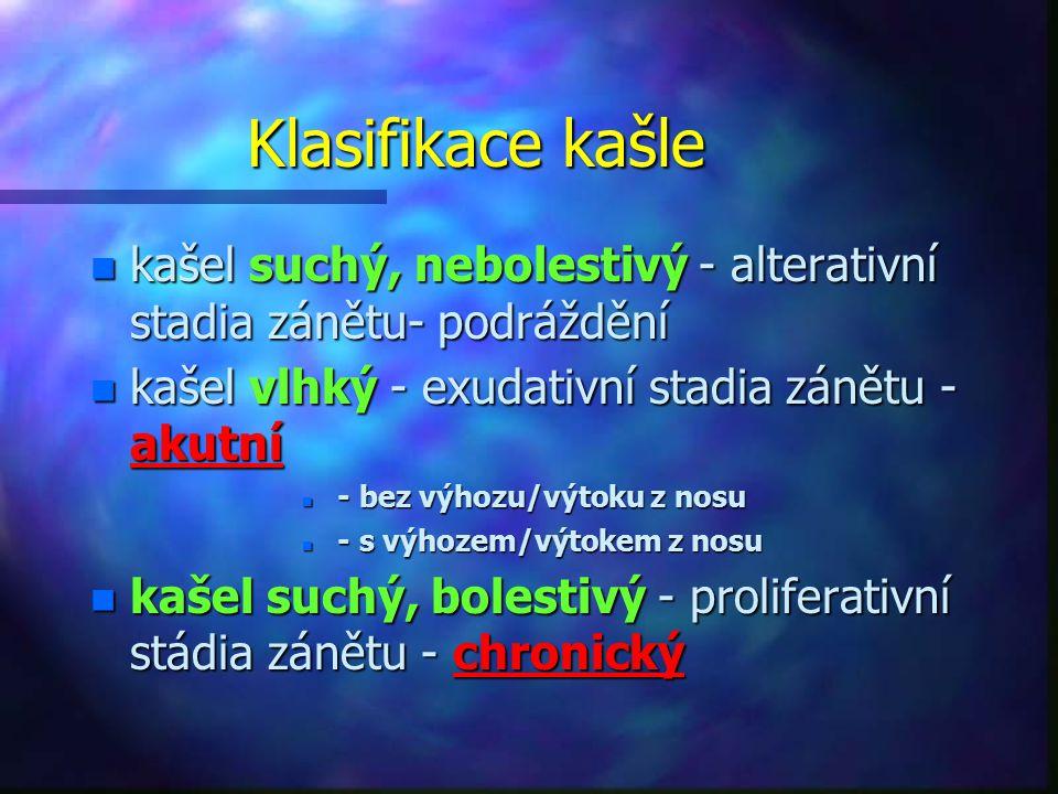Klasifikace kašle n kašel suchý, nebolestivý - alterativní stadia zánětu- podráždění n kašel vlhký - exudativní stadia zánětu - akutní n - bez výhozu/výtoku z nosu n - s výhozem/výtokem z nosu n kašel suchý, bolestivý - proliferativní stádia zánětu - chronický