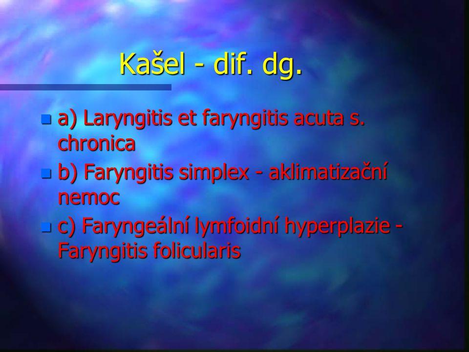 Kašel - dif.dg. n a) Laryngitis et faryngitis acuta s.