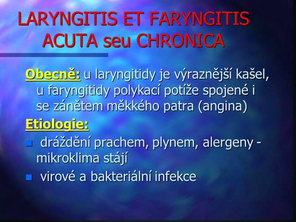 LARYNGITIS ET FARYNGITIS ACUTA seu CHRONICA Obecně: u laryngitidy je výraznější kašel, u faryngitidy polykací potíže spojené i se zánětem měkkého patra (angina) Etiologie: n dráždění prachem, plynem, alergeny - mikroklima stájí n virové a bakteriální infekce