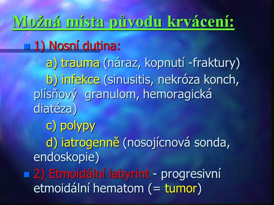 Možná místa původu krvácení: n 1) Nosní dutina: a) trauma (náraz, kopnutí -fraktury) a) trauma (náraz, kopnutí -fraktury) b) infekce (sinusitis, nekróza konch, plísňový granulom, hemoragická diatéza) b) infekce (sinusitis, nekróza konch, plísňový granulom, hemoragická diatéza) c) polypy c) polypy d) iatrogenně (nosojícnová sonda, endoskopie) d) iatrogenně (nosojícnová sonda, endoskopie) n 2) Etmoidální labyrint - progresivní etmoidální hematom (= tumor)