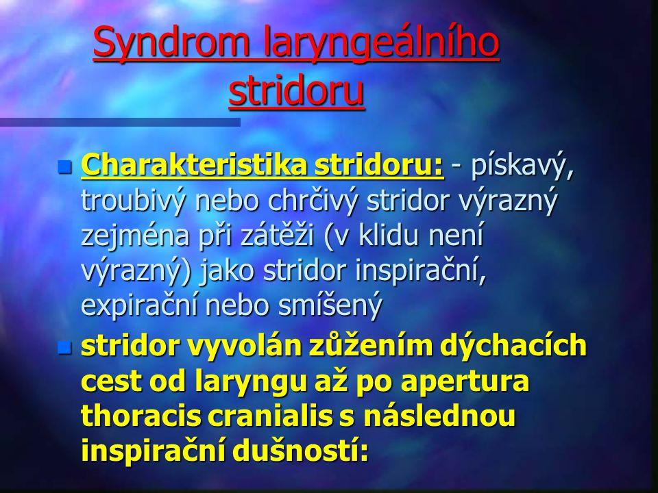 Syndrom laryngeálního stridoru n Charakteristika stridoru: - pískavý, troubivý nebo chrčivý stridor výrazný zejména při zátěži (v klidu není výrazný) jako stridor inspirační, expirační nebo smíšený n stridor vyvolán zůžením dýchacích cest od laryngu až po apertura thoracis cranialis s následnou inspirační dušností: