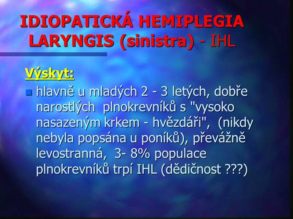 IDIOPATICKÁ HEMIPLEGIA LARYNGIS (sinistra) - IHL Výskyt: n hlavně u mladých 2 - 3 letých, dobře narostlých plnokrevníků s vysoko nasazeným krkem - hvězdáři , (nikdy nebyla popsána u poníků), převážně levostranná, 3- 8% populace plnokrevníků trpí IHL (dědičnost ???)