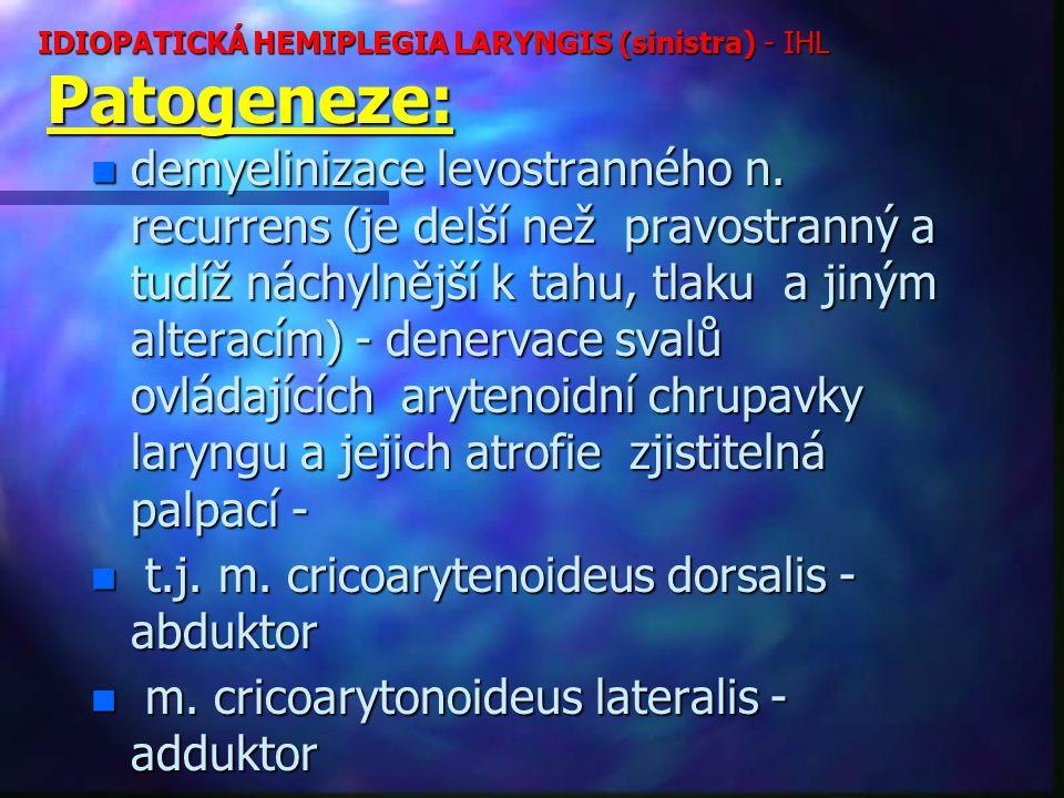IDIOPATICKÁ HEMIPLEGIA LARYNGIS (sinistra) - IHL Patogeneze: n demyelinizace levostranného n.