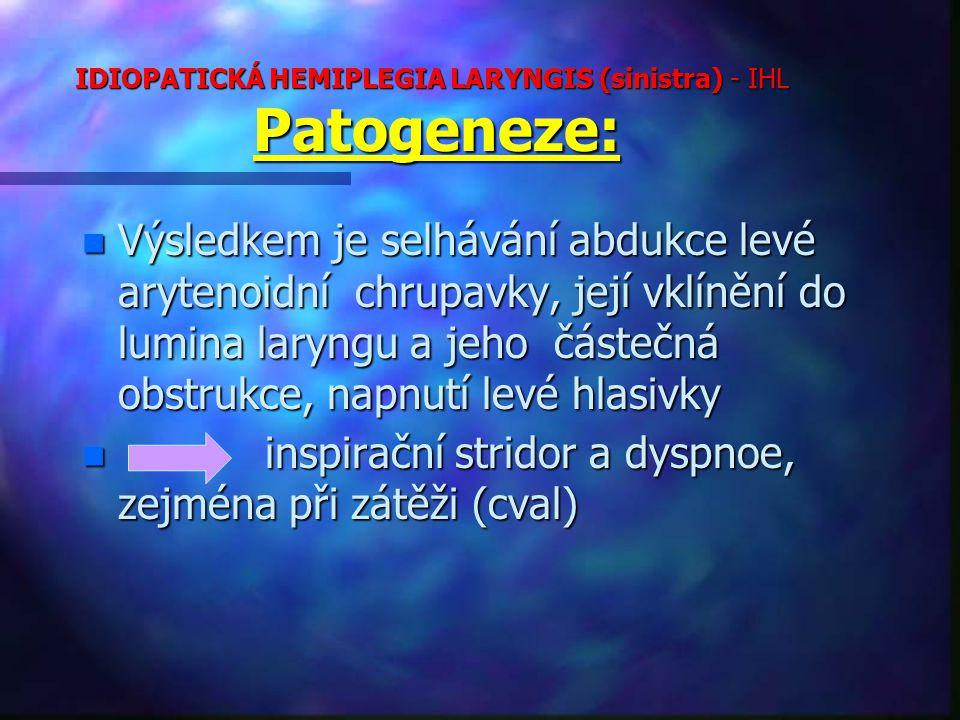 IDIOPATICKÁ HEMIPLEGIA LARYNGIS (sinistra) - IHL Patogeneze: n Výsledkem je selhávání abdukce levé arytenoidní chrupavky, její vklínění do lumina laryngu a jeho částečná obstrukce, napnutí levé hlasivky n inspirační stridor a dyspnoe, zejména při zátěži (cval)