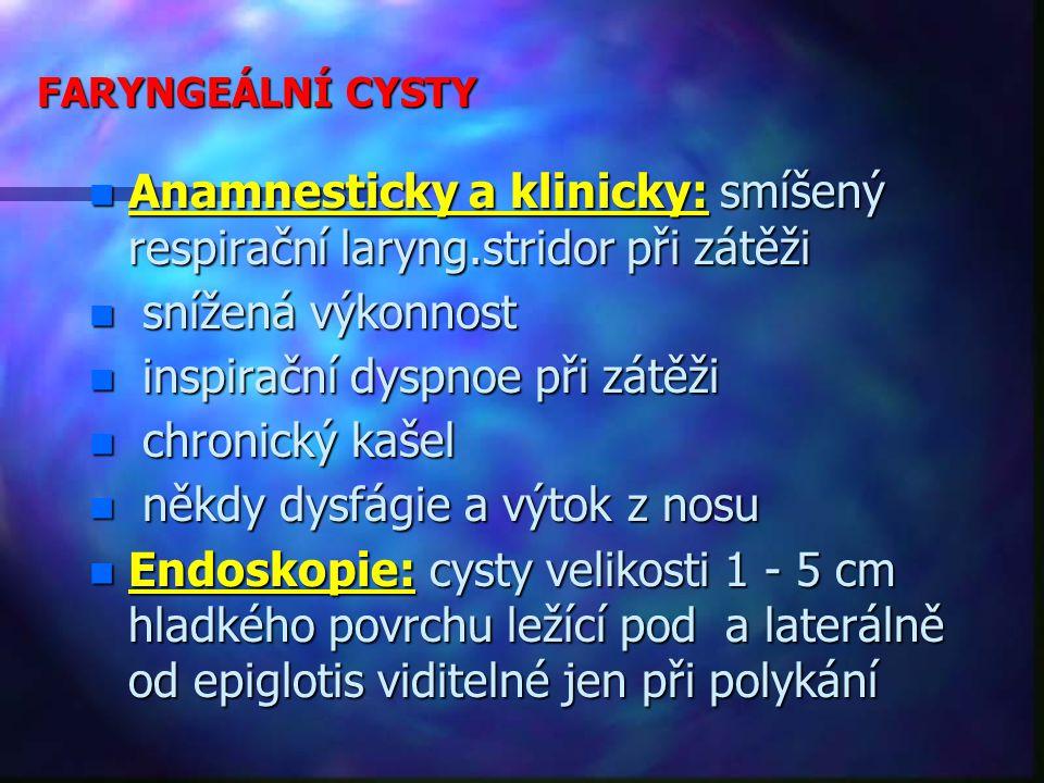 FARYNGEÁLNÍ CYSTY n Anamnesticky a klinicky: smíšený respirační laryng.stridor při zátěži n snížená výkonnost n inspirační dyspnoe při zátěži n chronický kašel n někdy dysfágie a výtok z nosu n Endoskopie: cysty velikosti 1 - 5 cm hladkého povrchu ležící pod a laterálně od epiglotis viditelné jen při polykání