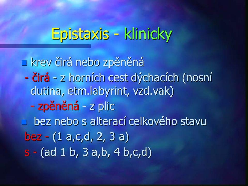Epistaxis - klinicky n krev čirá nebo zpěněná - čirá - z horních cest dýchacích (nosní dutina, etm.labyrint, vzd.vak) - čirá - z horních cest dýchacích (nosní dutina, etm.labyrint, vzd.vak) - zpěněná - z plic - zpěněná - z plic n bez nebo s alterací celkového stavu bez - (1 a,c,d, 2, 3 a) bez - (1 a,c,d, 2, 3 a) s - (ad 1 b, 3 a,b, 4 b,c,d) s - (ad 1 b, 3 a,b, 4 b,c,d)