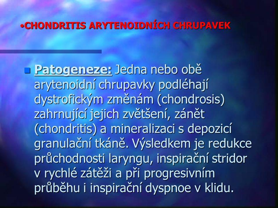 CHONDRITIS ARYTENOIDNÍCH CHRUPAVEKCHONDRITIS ARYTENOIDNÍCH CHRUPAVEK n Patogeneze: Jedna nebo obě arytenoidní chrupavky podléhají dystrofickým změnám (chondrosis) zahrnující jejich zvětšení, zánět (chondritis) a mineralizaci s depozicí granulační tkáně.