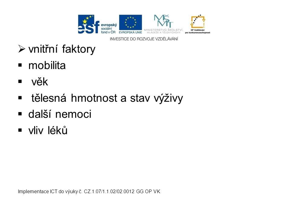  vnitřní faktory  mobilita  věk  tělesná hmotnost a stav výživy  další nemoci  vliv léků Implementace ICT do výuky č. CZ.1.07/1.1.02/02.0012 GG