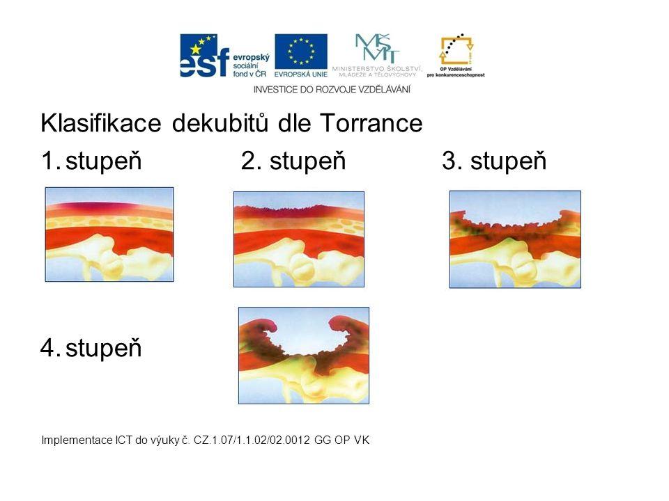 Klasifikace dekubitů dle Torrance 1.stupeň2. stupeň3. stupeň 4.stupeň Implementace ICT do výuky č. CZ.1.07/1.1.02/02.0012 GG OP VK