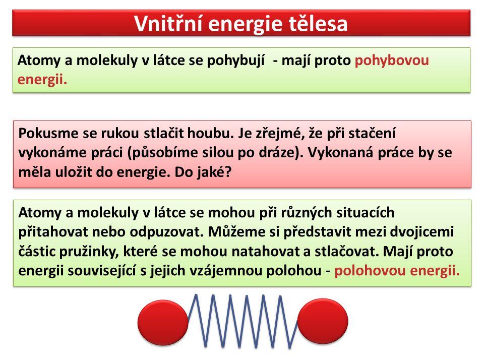 Vnitřní energie tělesa Atomy a molekuly v látce se pohybují - mají proto pohybovou energii. Atomy a molekuly v látce se pohybují - mají proto pohybovo