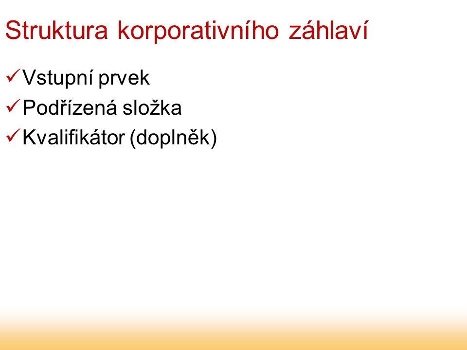 Struktura korporativního záhlaví Vstupní prvek Podřízená složka Kvalifikátor (doplněk)